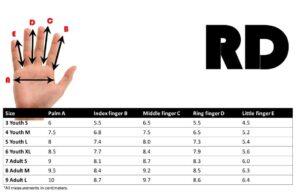 maattabel BMX MTB handschoenen